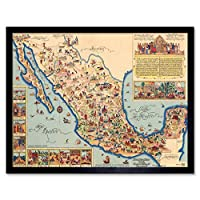 Pictorial Map Of Mexico 1931 Vintage Art Print Framed Poster Wall Decor 12x16 inch 地図メキシコビンテージポスター壁デコ