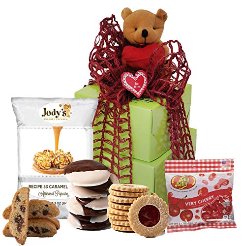 Independence Day Gift Basket | Gift Baskets Gluten Free with Gourmet Cookies Sweets Healthy Snacks and Nuts | Prime Fathers Day Gifts for Dad, Mom, Girlfriend, Boyfriend, Husband and Wife (Small Tower)