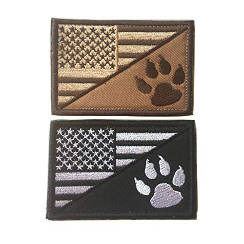 USA American Flag w/Dog Tracker Paw Embroidered Applique Morale Hook & Loop Patch (D-Bundle 2pcs Brown,Black)