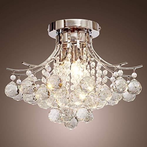 HOMCOM 3 Lights Mordern Style Ceiling Chandelier Pendant Crystal Light w/Transparent K9 Crystal Droplets D40 X 28H (CM)