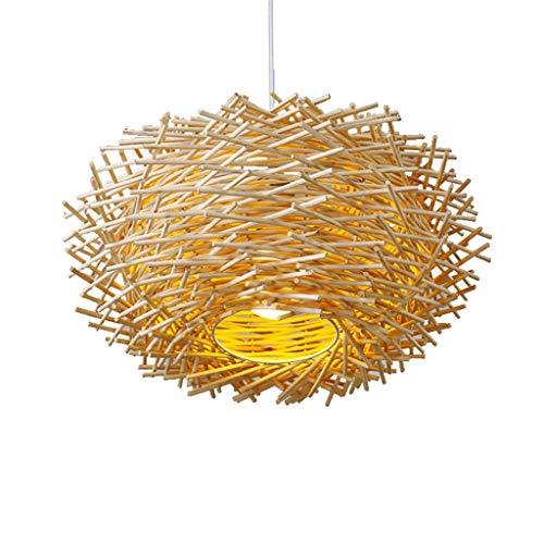 WSSBK Lámpara Colgante de Mimbre, Pantalla de lámpara de ratán, iluminación Elegante lamentable, lámparas de Techo de ratán, lámpara de araña de Tejido rústico (Color : A)