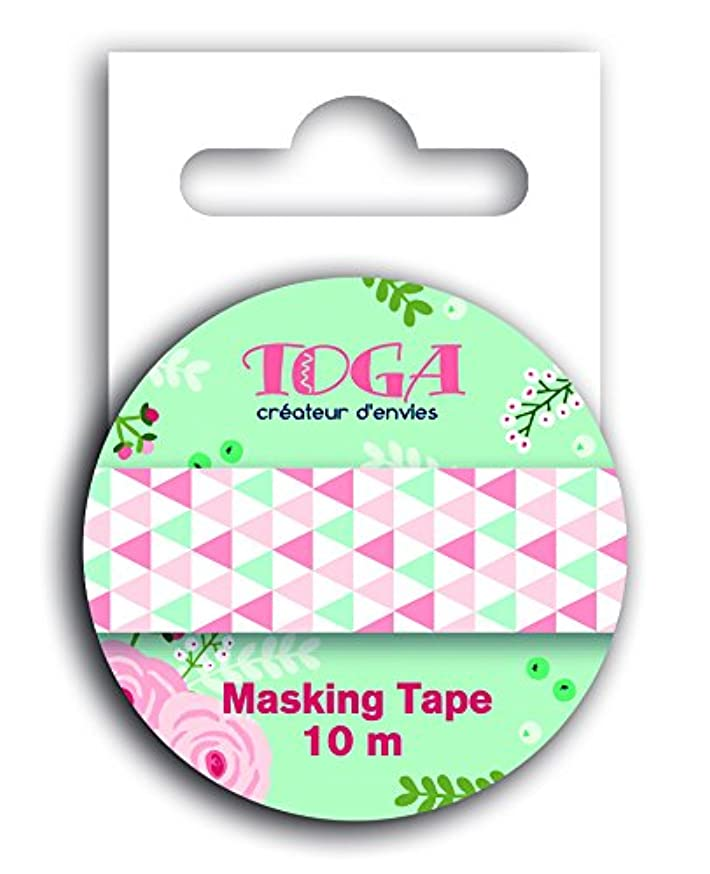 Toga Masking tape - green & pink triangles