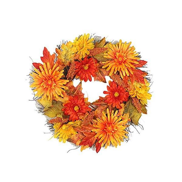 Fall Wreath, 19″ Front Door Wreath, Christmas Wreath with Maple Leaf Halloween Easter Wreath for Front Door, Ideal for Autumn & Halloween & Thanksgiving Day, Indoor Outdoor.
