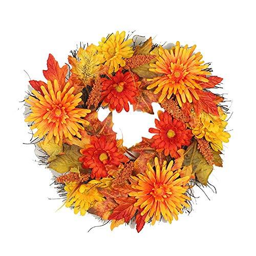 LIJUMN - Ghirlanda di foglie di bacche e autunnali, 20 pollici di diametro, ghirlanda di foglie per l'autunno e la decorazione interna