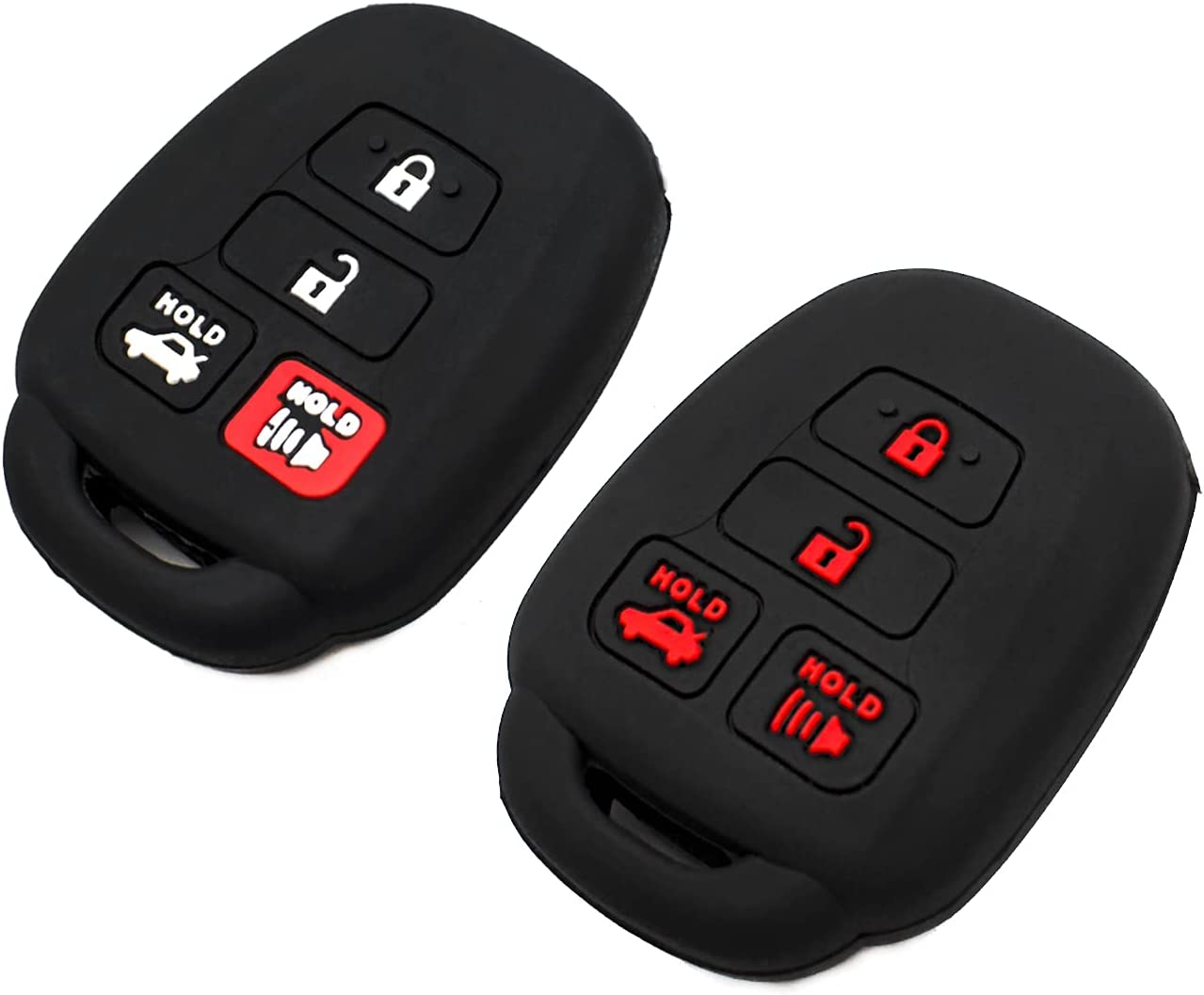 EYANBIS Silicone Key Fob Cover Fit for Toyota Camry SE LE Avalon Corolla RAV4 Venza Highlander Sequoia Scion HYQ12BDM | Car Accessories | Remote Key Protection Case - Black & Black/Red