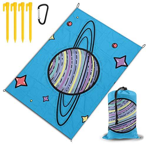 Emonye Saturn Planet In The Space Galaxy Creation Vector Image tragbare wasserdichte Picknick-Matte, 200 x 145 cm, kratzfest, schmutzabweisend, Aufbewahrungstasche
