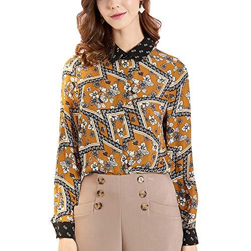 E-girl E7074 Damen Seide Bluse Top Hemdkragen Langarm Slim Seidentop HemdBluse Top,Gelb,XL