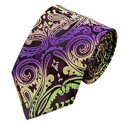 Jason & vogue cravate de designer violet/noir/vert/jaune/motif cachemire