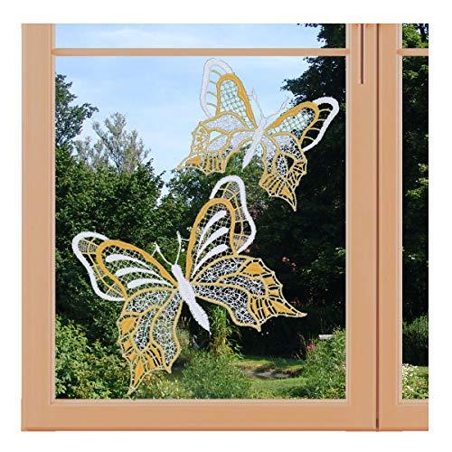 artex deko Set 2 Stück Fensterbild Schmetterlinge Gold-gelb Fensterdekoration mit Saugnapf Plauener Spitze