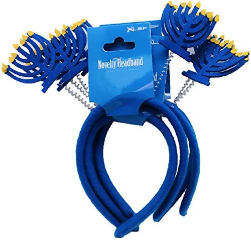 ALEF Hanukkah Menorah Novelty Headband 4 Pack Blue