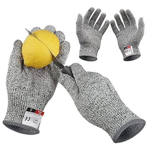 MOSNOW Schnitzhandschuh Kinder, Schnittfeste Handschuhe Kinder mit Stufe 5 Schutz, EN 388 Zertifiziert, für Gartenbau/Baustelle/Küche/Schnitzmesser, Grau 2 Paar(XXS/XL)