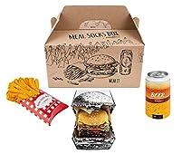 CHAUSSETTES POUR UN GOURMAND – Notre Meal Socks Box est une proposition pour tous ceux qui ont un gros appétit pour les chaussettes amusantes ou fast food. Un hamburger, des frites et une canette de bière à emporter proposent ensemble 5 paires de cha...