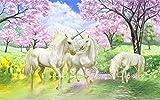 MINCOCO Papel tapiz mural 3D personalizado Unicornio Dream Cherry Blossom TV Fondo Imágenes de pared para niños Habitación Dormitorio Sala de estar Fondo de pantalla @ 430x300cm