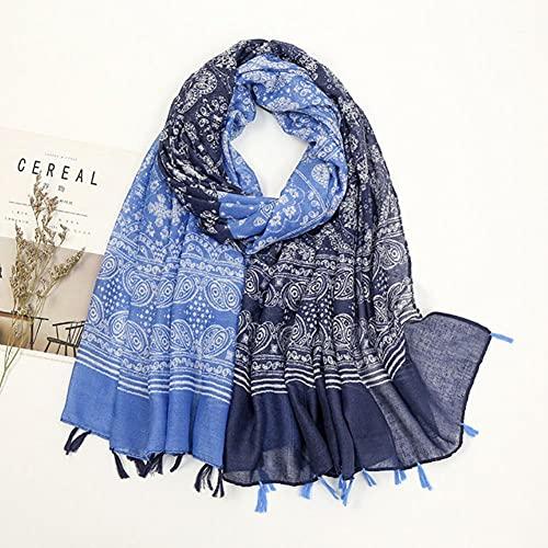 UKKO Bufanda Ginkgo Amarillo Borla Floral Viscosa Chal Bufanda Dama Impresión Suave Envoltura Cuello Snood Hijab Capas 180 * 90 Cm-21