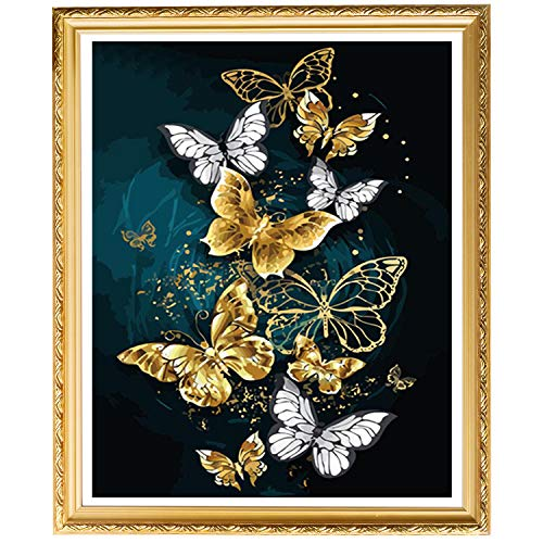 UPINS 5D DIY Gold Silver Butterfly Full Drill Rhinestone Diamond Art Painting Kits for Adult Home Décor