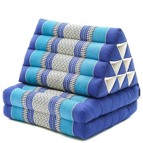 Leewadee Colchón Tailandés Alfombra Plegable con Cojín Triangular Cojín De Suelo Cojín De Lectura Colchoneta De Relajación Orgánico Naturalmente Ecológico, 115x50x40 cm, Capok, Azul