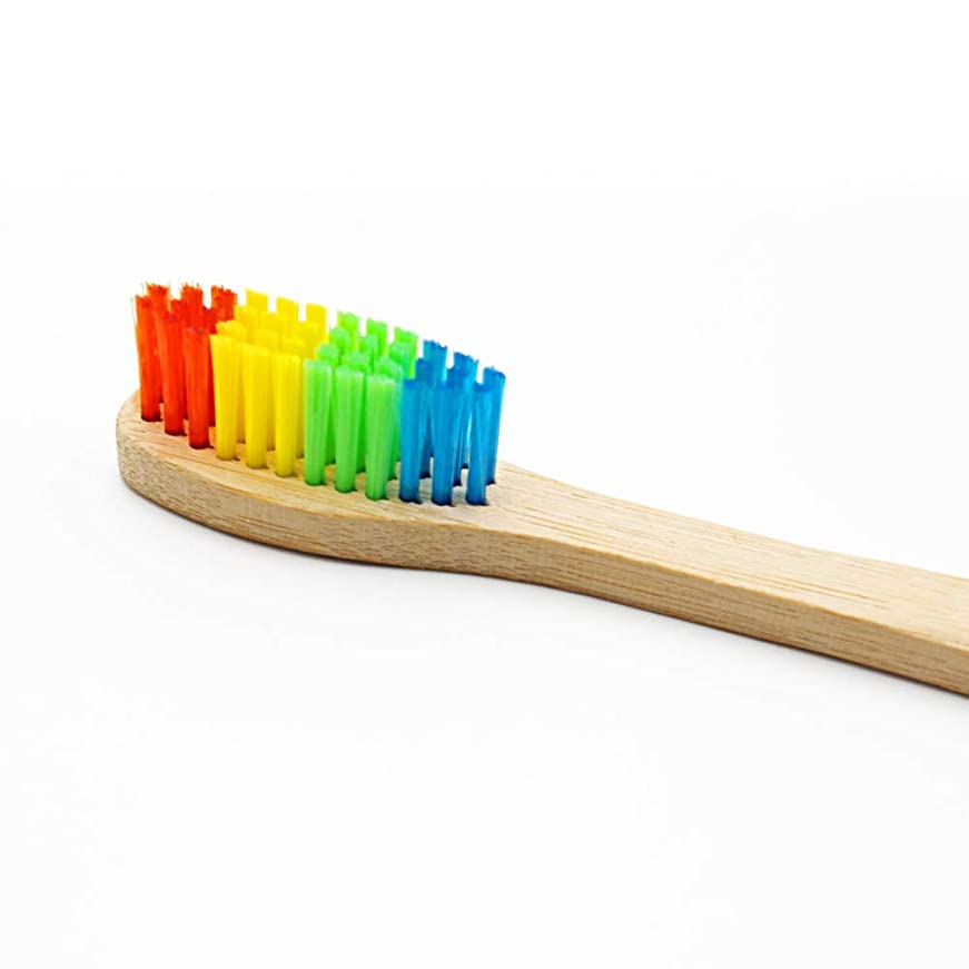 1ピースカラフルな木材柔らかい竹歯ブラシ竹炭柔らかい歯ブラシ虹ミニ口腔ケア中ブラシ、1