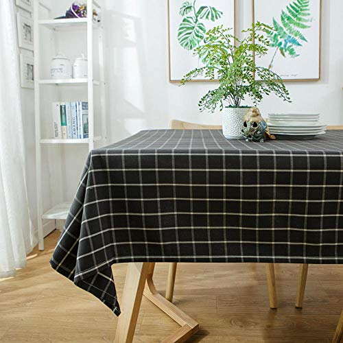 Yinaa Mantel Mesa Rectangular Decorativo Wear Resistant and Durable Impermeable Manteles Cocina Black Plaid 130×180cm