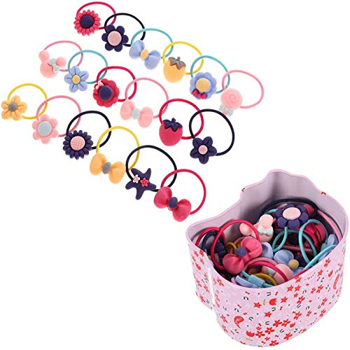 Opopark Gomas del pelo,40 piezas Lazos de Pelo Elásticos de Dibujos Animados Cuerdas Pequeñas para Niñas Pequeñas Bandas de Goma Elástica