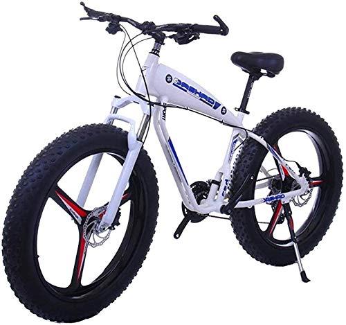 Bicicleta Eléctrica Plegable Bicicleta eléctrica de nieve, Bicicleta eléctrica para adultos - 26inc Gordo Tire 48V 10Ah Mountain E-Bike - Con batería de litio de gran capacidad - 3 modos de montaje Fr