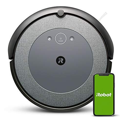 iRobot Roomba i3152 Robot aspirapolvere connesso, due spazzole in gomma multisuperficie, suggerimenti personalizzati, compatibile con assistente vocale, tecnologia Imprint, grigio blu