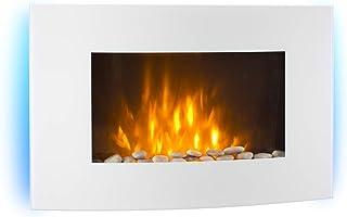 KLARSTEIN Lausanne - Chimenea eléctrica Horizontal de Pared, Rendimiento de 1000 o 2000 W, Calefactor eléctrico, ilusión Llamas, instalación Pared, Mando, Blanco