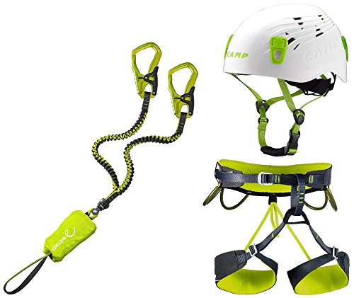 EDELRID Klettersteigset Cable Comfort 5.0 + Klettergurt Camp Größe L + Helm Camp Titan White 54-62cm