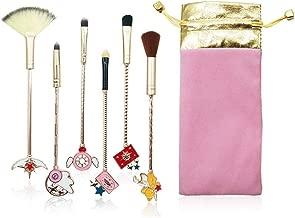 Dilla Beauty 6 Pcs/lot Variety Sakura Magic Girl Makeup Brushes Set Gold Metal Handle Powder Outline Blush Concealer Foundation Makeup Brushes Magic Tool Beauty Tool (Rose Gold)