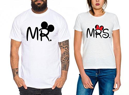 Mr Mrs Partner Look Pärchen T-Shirt Set für Pärchen als Geschenk, Farbe:Weiss;Größe:Damen Gr. M + Herren Gr. M