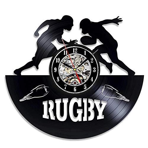 qweqweq Reloj de Pared de Vinilo Retro con diseño Moderno, decoración 3D, Reloj de Vinilo Deportivo de fútbol de Rugby, Reloj de Pared, decoración del hogar