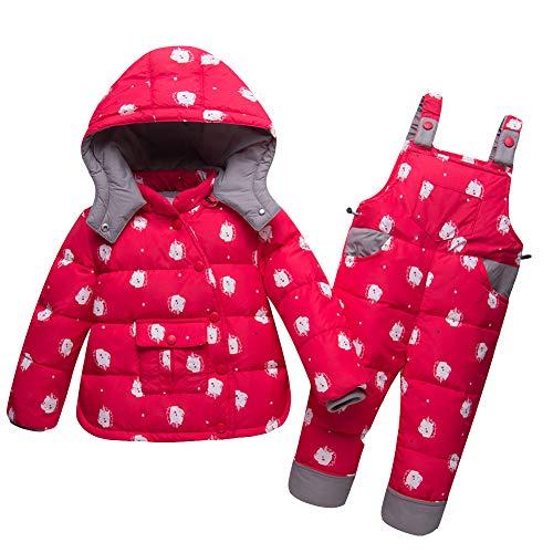 LPATTERN Baby/Kleinkind Jungen/Mädchen Winter 2tlg Bekleidungsset Schneeanzug Skianzug Zweiteiler Daunenanzug(Daunenjacke mit Kapuze+ Daunenhose mit Träger), Rot, 98/104(Label: 110cm)