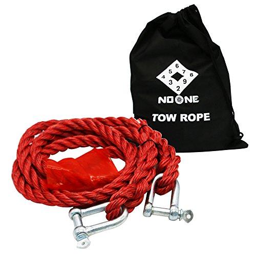 NoOne Tow Rope 3 Meter, Maximalgewicht 5 Tonnen mit 2 Sicherheitshaken und freiem Tragekoffer (rot)