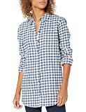 Amazon Brand - Goodthreads Women's Flannel Relaxed Fit Boyfriend Tunic Shirt, Deep Blue/Off White Mini Buffalo Plaid,Small
