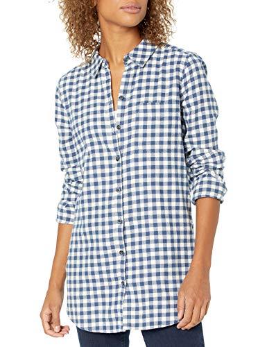 Goodthreads Brushed Flannel Boyfriend Tunic button-down-shirts, Deep Blue/Off White Mini Buffalo Plaid, US L (EU L - XL)