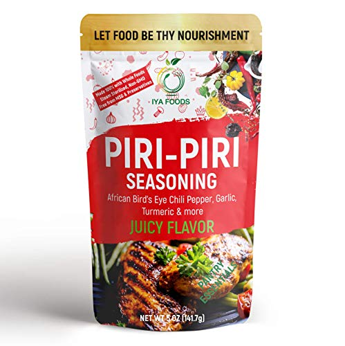 Iya Foods Piri-Piri Seasoning 5 oz Bag, Made with Herbs, Peppers & Spices. Free from MSG or Anything Artificial. World Famous Rub for Mouth Watering Roasted or Flame Grilled Chicken
