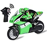 Top Race 4 Channel RC Remote Control Motorbike Goes On 2 Wheels with Built in Gyroscope, 1: 20 Scale, USB Charging TR-M29G