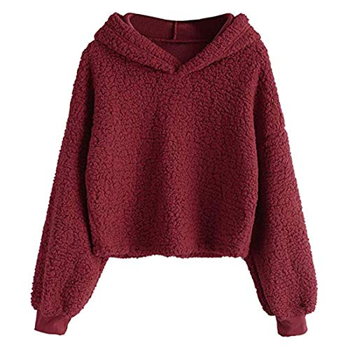 ZGRNPA Hoodie Women Pull Over Plain Casual Short Hooded Sweat Shirt Top Casual Loose Long Sleeve Winter Warm Fluffy Fleece Oversize Top Hoodie Sweatshirt Pullover with Pockets Women's Short Hoodie