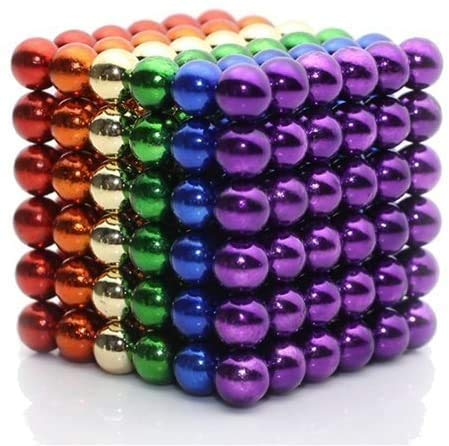Sky Magnets 5 mm Magnetic Balls Cube Fidget Gadget Toys Rare Earth Magnet Office Desk Toy Games Magnet Toys Multicolor Beads Stress Relief Toys for Adults (Rainbow)