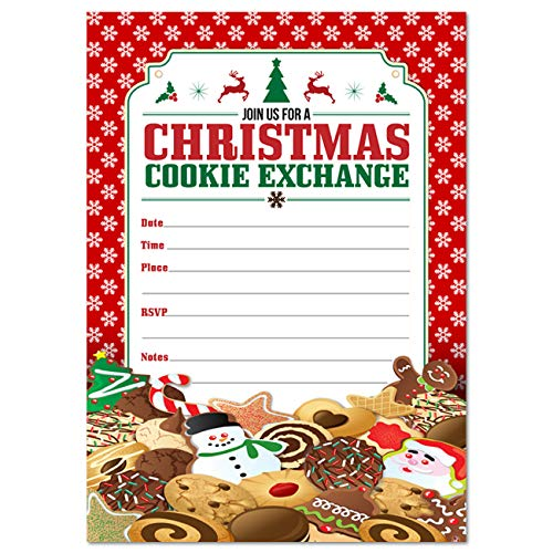 Christmas Cookie Exchange Party Invitations, Set of 10 Fill-in Blank 5x7 Inch Invites and Envelopes