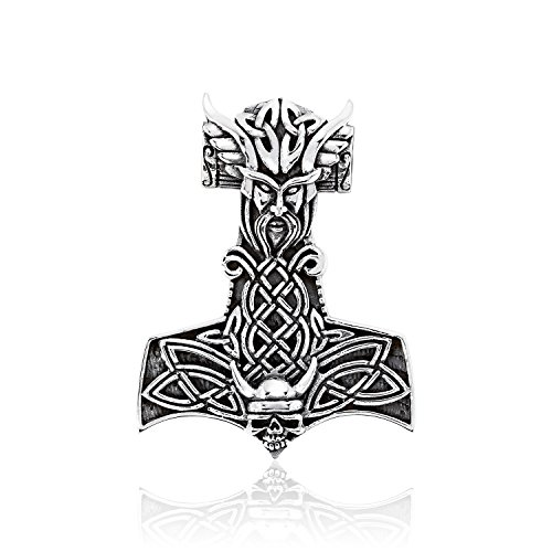 WithLoveSilver Solid 925 Sterling Silver Celtic Viking Skull Norse Warrior Hammer of Thor Mjolnir Pendant