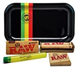 Bundle - 5 Items - RAW King Size Supreme, 110 Roller and Pre-Rolled Tips with Rolling Paper Depot Rolling Tray (Rasta Racer) and Kewl Tube