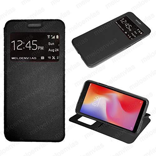 MELOENVIAS Funda Samsung Galaxy A20e Libro con Tapa Funcion Soporte Ventana Cierre iman Color Negro