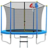 Merax 8 FT Round Trampoline with Safety Enclosure, Basketball Hoop and Ladder, Fast Assembly Outdoor Trampoline for Kids