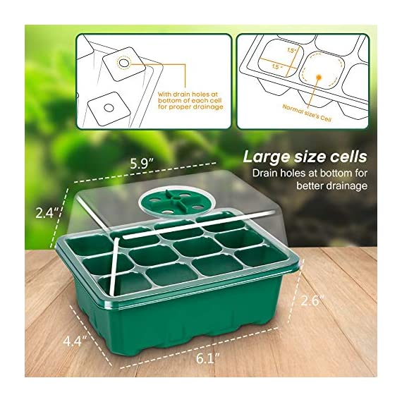 5-Pack Seed Trays Seedling Starter Tray,Humidity Adjustable Plant Starter Kit with Dome and Base Greenhouse Grow Trays… 2 【Keep an eye on your plant】: The only design in the market- High quality clear plastic trays of this seed grow kit make it easier to observe your plants without interrupting the process. 【Total control】: Adjustable vents of this seed trays allow you to regulate the temperature and humidity of your seedling environment, so you have total control over the germination process. 【Perfect for the heat mat】: With its excellent resistance to high and low temperature, these seedling trays are strong enough to be used on a heat mat and no-worry melting.