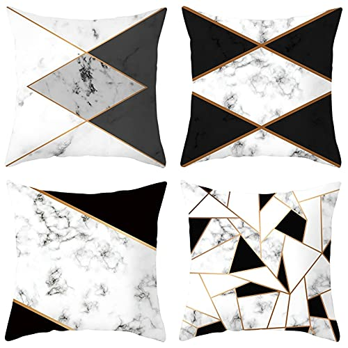 Agoble Funda Almohada Suave, Adornos Habitacion Juvenil Poliéster 4 40X40cm Funda Cojin Blanco Negro Mármol Cuadrado Triángulo