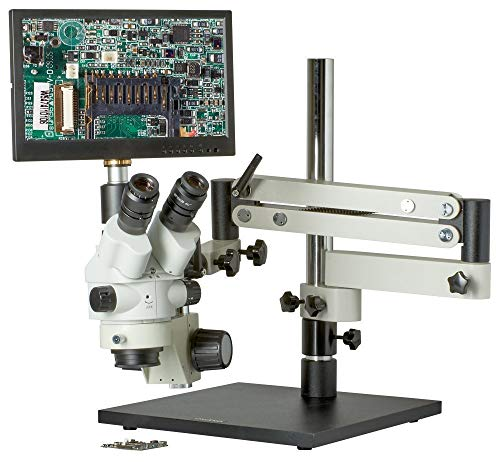CX3-2300S-V7-7.5x-45x - Trinocular Zoom Stereo Microscope - HDMI 1080p Microscope Camera - Integrated 12.5' Monitor - SD Card Slot - Articulating Bom Stand - 80 LED Ring Light