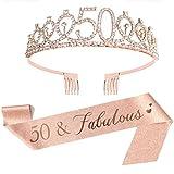 XO LOVEORY 50th Birthday Sash & Tiara Set, 50 & Fabulous Glitter Sash Gifts for Women Birthday Party Decorations Favors