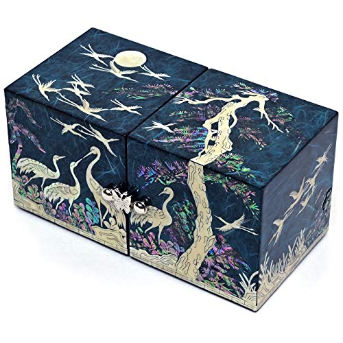 MADDesign Mother of Pearl Twin Cubes Lacquered Jewelry Box Crane Pine Tree Blue
