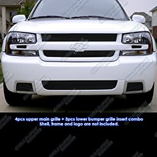 APS Compatible with 06-09 Chevy Trailblazer SS Black Billet Grille Insert Combo C61007H