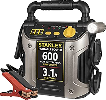 STANLEY J309 Portable Power Station Jump Starter  600 Peak/300 Instant Amps 3.1A USB Ports Battery Clamps